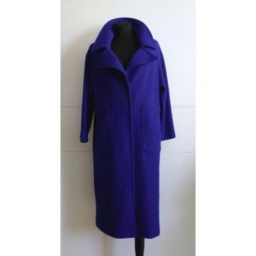 Płaszcz wełniany jesienno-zimowy kobaltowy roz. S