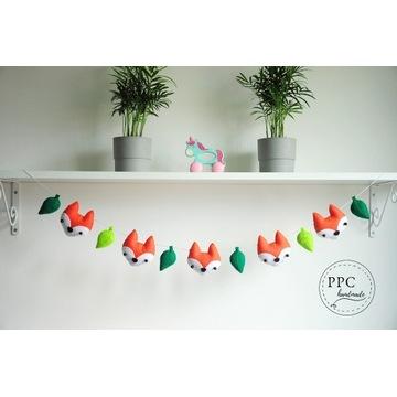Girlanda leśne liski - dekoracja dziecięca