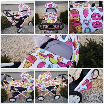 Wózek dla Lalek Dziewczynek Regulowana Rączka