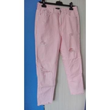 Spodnie różowe z rozcięciami dziurami S
