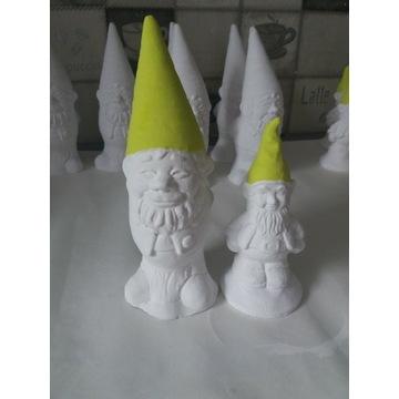 Krasnale skrzaty gipsowe figurki para