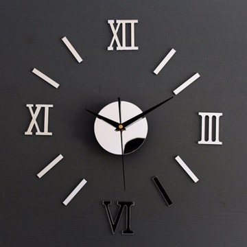 Zegar Ścienny Srebrny 4 cyfry Rzymskie