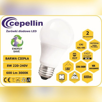 Żarówka LED A55 8W. 2700K, 600LM, Gwint  E27