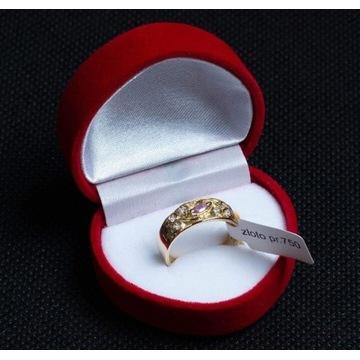 Złoty pierścionek z cyrkoniami rozm. 16