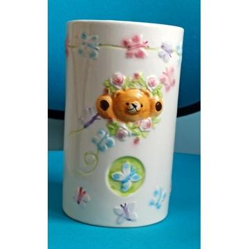 wazon miś motylki osłonka pojemnik ceramika