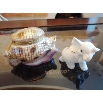 Szkatułka muszla + slonik