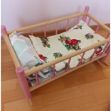łóżeczko drewniane dla lalki kołyska+pościel DUŻE