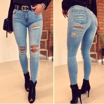 Spodnie dżinsowe dziury z tyłu pod posladkiem 34 x