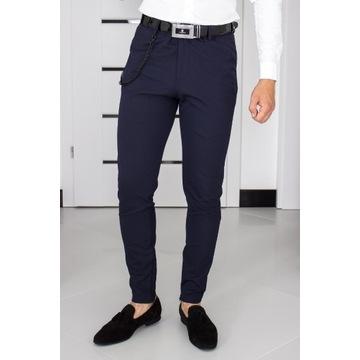 Spodnie Zara W32 (M - 42) Granatowe Slim 10H115