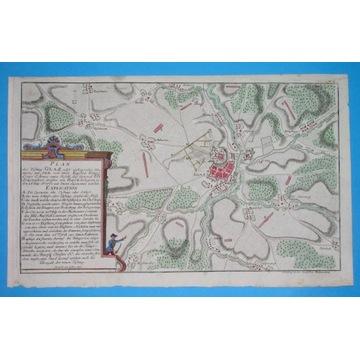 1758 ŚLĄSK mapa KŁODZKO GLATZ bitwa ORYGINAŁ