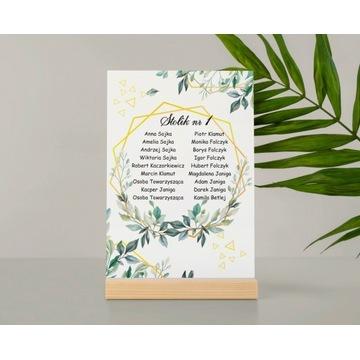Lista Plan stołów A4 na wesele zestaw  9 kart