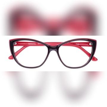 Okulary korekcyjne damskie wg recepty, czarnoczerw