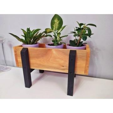 Mini drewniana doniczka na zioła, kwiaty, kwietnik