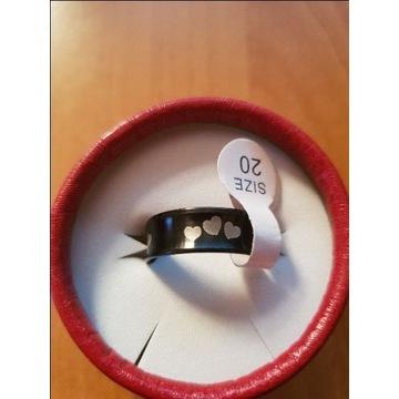 Obrączka czarna z stali nierdzewnej 316 L