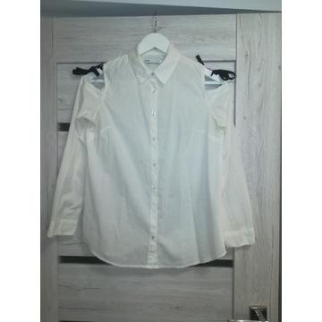 CROPP biała bawelna koszula odkryte ramiona XS/S