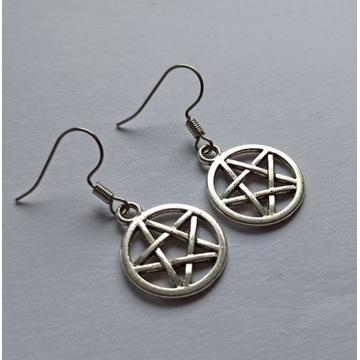Kolczyki pentagram witch talizman amulet ochrona