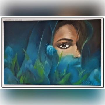 """Obraz olejny 40x60- """"W ogrodzie"""""""