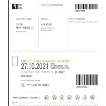 Lao Che - 4 bilety. Kraków 27.10.2021