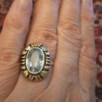 Antyk -srebro złocone kamień Spinel