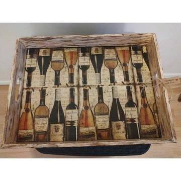 Taca podkładka decoupage wino butelki HAND MADE