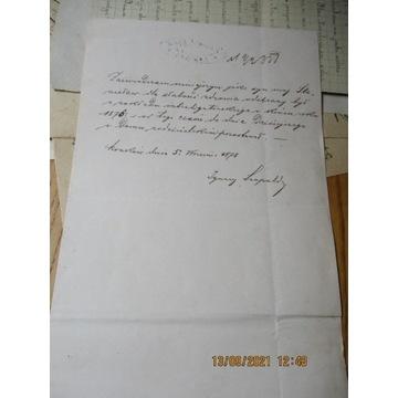pismo KRAKÓW 1878 RADA MIASTA KRAKOWA