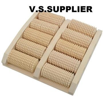 Masażer do stóp drewniany 10 rolek