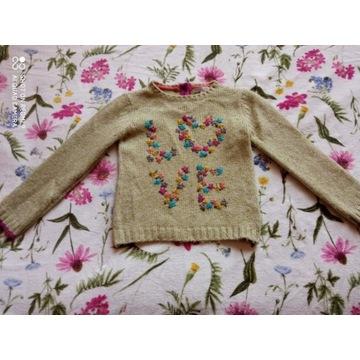 M&S ciepły sweterek haftowany 110-116 cm