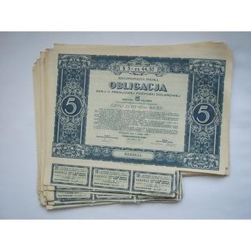 OBLIGACJE DOLAROWE  5 $ 1931 -29 SZTUK - OKAZJA !