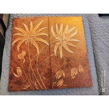 Obraz  56,5X57,5 (2 szt 56,5x28,8), pomarańczowy