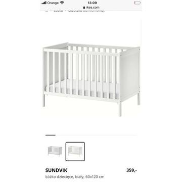 Łóżeczko Ikea Sundvik z materacem