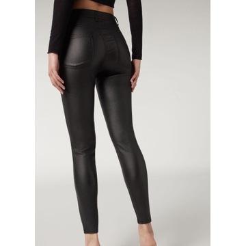 Lateksowe czarne obcisłe spodnie (wysoki stan)
