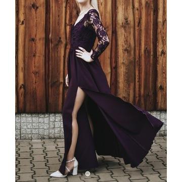 Sukienka MAXI fioletowa długi rękaw rozporek