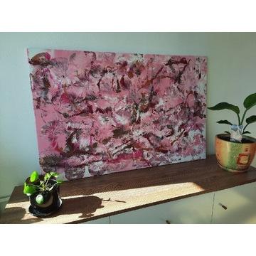 """Obraz akrylowy abstrakcja """"kwitnąca  wiśnia """""""