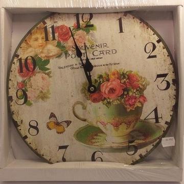Zegar Kwiaty Ścienny Duży