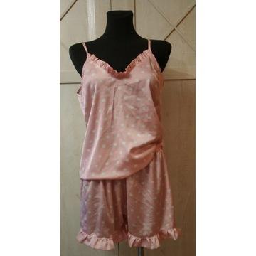 Różowa atłasowa dwuczęściowa piżama