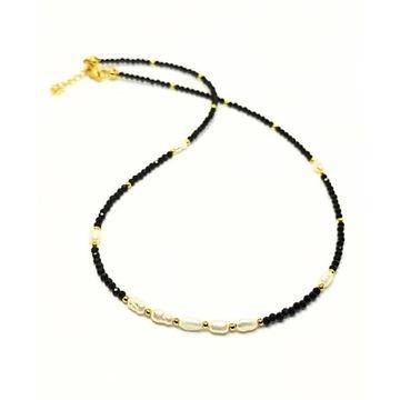 Naszyjnik choker naturalny turmalin srebro perły