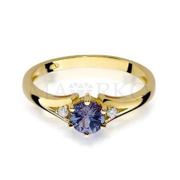 Złoty pierścionek z szafirem i dwoma brylantami