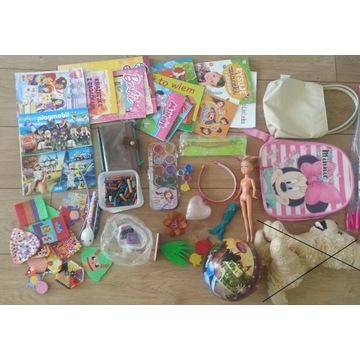 zestaw zabawek dla dziewczynki plecak piłka farbki