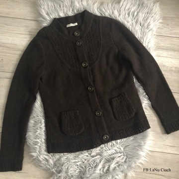 Sweter Vintage w ciemnym brązie Wełna