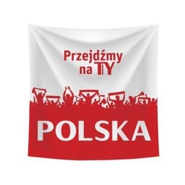 Flaga Polski TYSKIE 90x90 Przejdzmy na Ty POLSKA