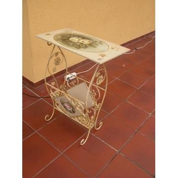 stolik - gazetnik ręcznie malowany i metaloplastyk