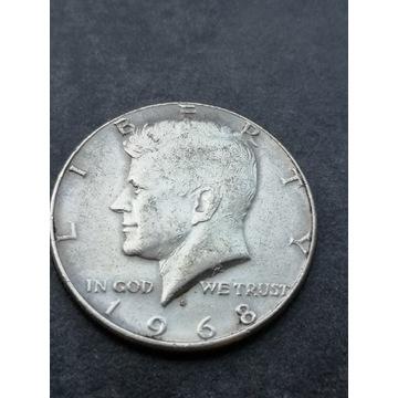 Half dollar 1/2 1968r. Kennedy srebro USA