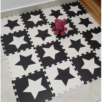 Mata puzzle piankowe kontrastowa czarno biała