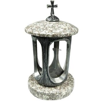 Lampion nagrobny srebro+ TARN+ krzyż