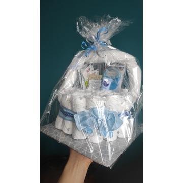 Pieluszk Dada koszyk na prezent chrzciny narodziny