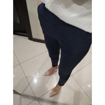 włoskie spodnie, czarne w białe groszki S-4XL