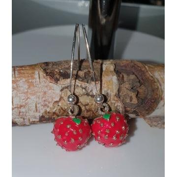 Srebrne kolczyki 925 TRUSKAWKOWE truskawki