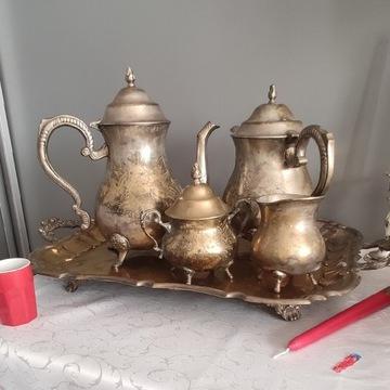 Zestaw kawowy posrebrzany