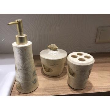 Kubek szczoteczki pojemnik waciki dozownik mydło