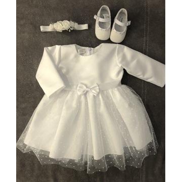 Zestaw do chrztu, sukienka,buty,opaska wizytowa